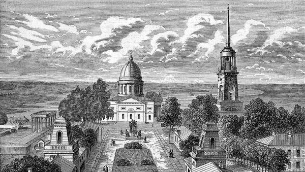 О былом величии Аракчеевской усадьбы напоминают только старинные гравюры
