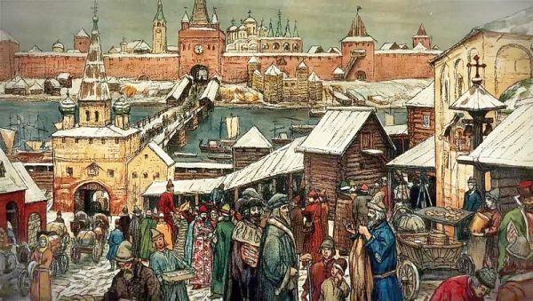 Новгородский торг. Картина Аполлинария Васнецова