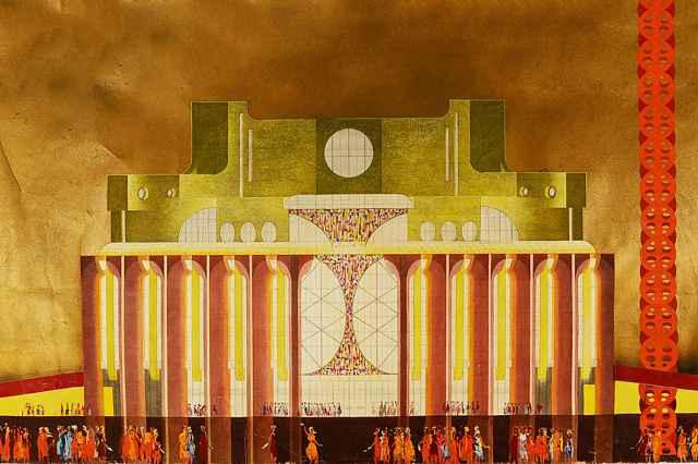 По замыслу архитектора, здание театра должно было бы быть в красном цвете. Но цветного цемента в то время в стране не делали (эскиз).