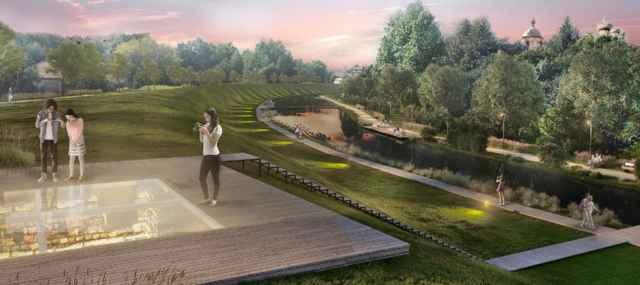 Так, по мнению разработчиков, будет выглядеть Окольный вал Великого Новгорода. Протяжённость данного туристического объекта — около 5 километров. Проект дом.рф