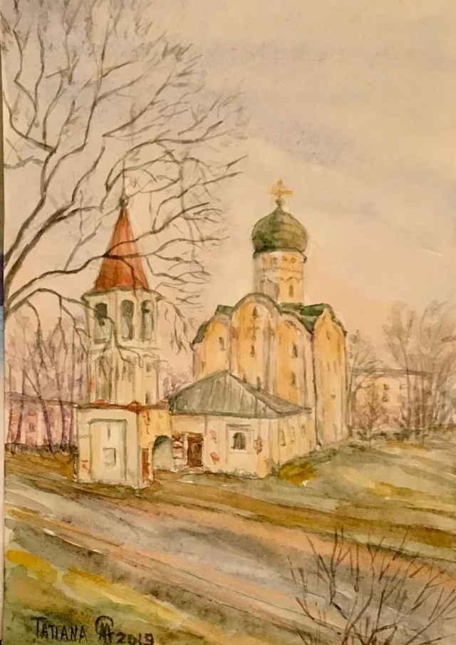 Церковь Фёдора Стратилата. Великий Новгород. Рисунок Татьяны СОЛОВЬЁВОЙ