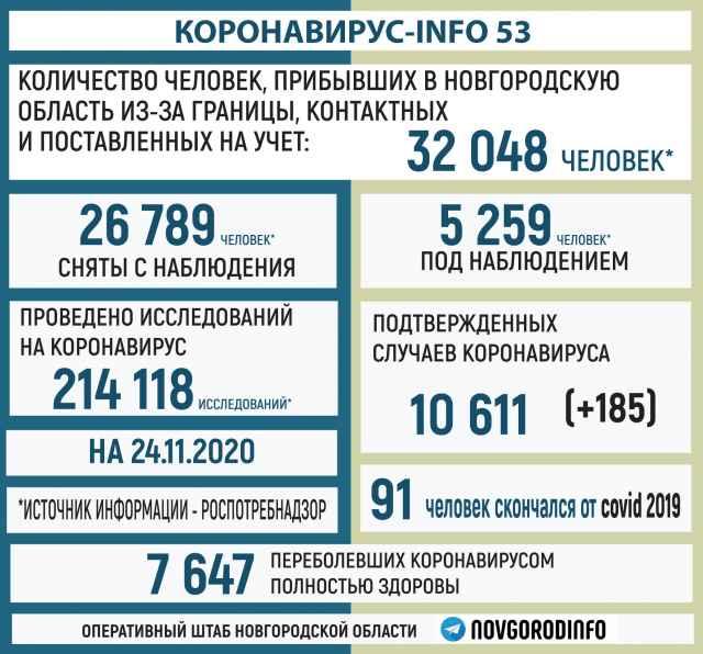 Данные о коронавирусе по состоянию на 24 ноября