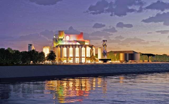 В концепции театра RHIZOME стела вернулась на своё место, но она по высоте гораздо ниже, чем снесённая в 2009 году. Эскизы предоставлены RHIZOME