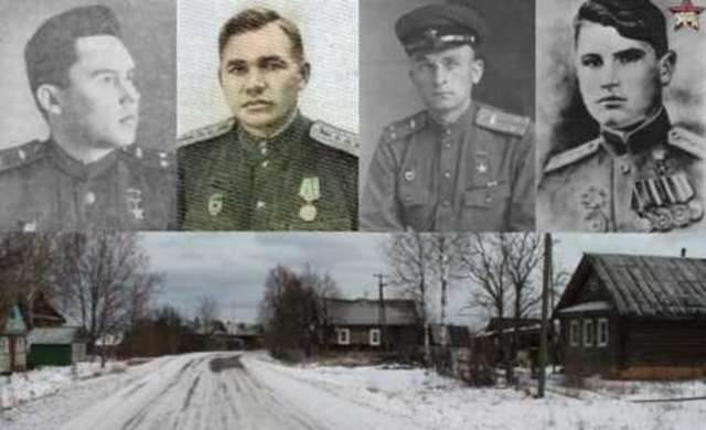 Герои-танкисты (слева направо) Платицын, Телегин, Томашевич, Литвинов.