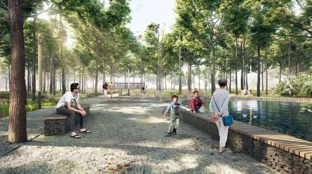 Таким станет парк в Холме. Контракт стоимостью в 52,5 млн рублей будет реализовывать петербургская компания «Транскапитал». Работы должны быть завершены к 18 октября 2021 года. Рисунок из архива Новгородского центра развития городской среды