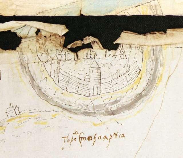 Изображение Старорусской крепости на «Чертеже земель по реке Полисть с городом Старая Руса, поданном в июне 1680 года».