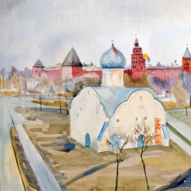 Церковь  Власия на фоне кремля. Акварель, 1984 г.