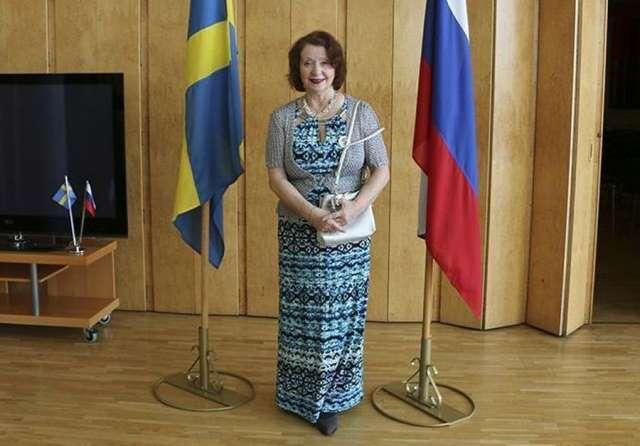 Лидия Грот на праздновании юбилея «Русского салона» в российском посольстве в Швеции.