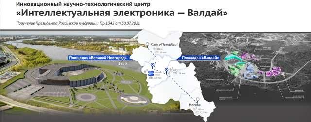 Площадки ИНТЦ будут располагаться в Великом Новгороде и Валдае. (Слайд из презентации проекта)