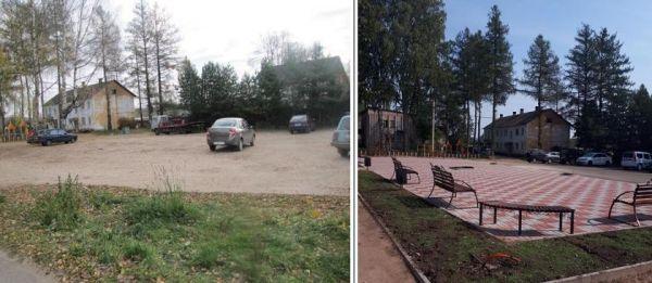 Фото площадки до и после проведения работ по благоустройству