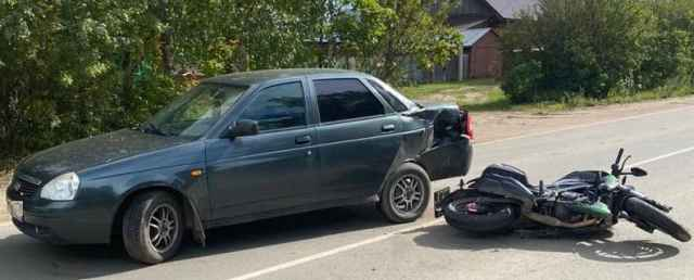 26-летний молодой челоек, находившийся за рулём мотоцикла, получил телесные повреждения.