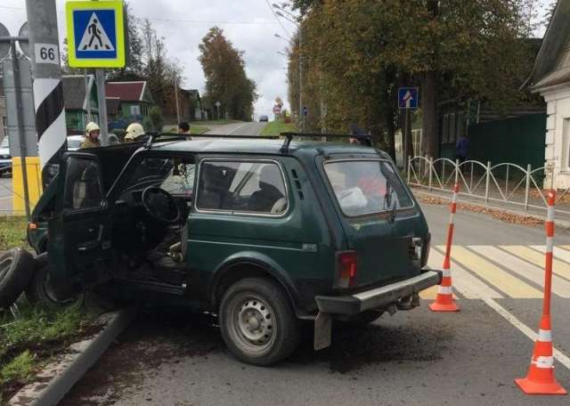 В Сольцах водитель «Нивы» врезался в столб и погиб