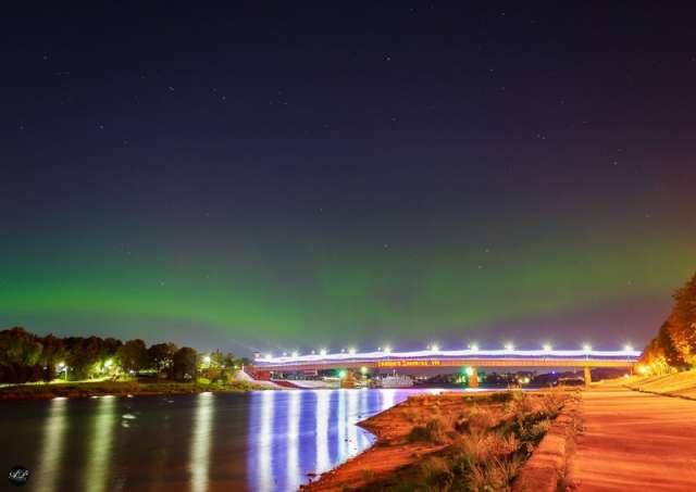 В небе над Великим Новгородом появилось северное сияние
